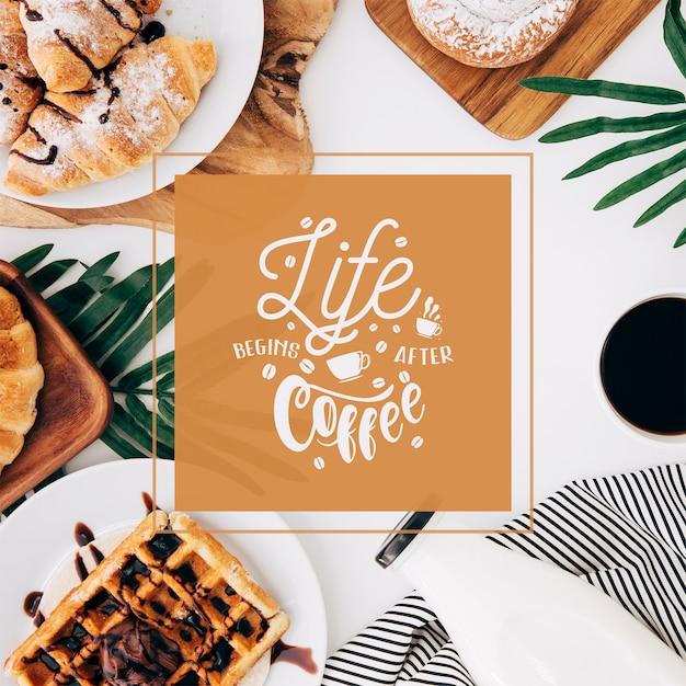 Maquette de post de médias sociaux avec le concept de café Psd gratuit