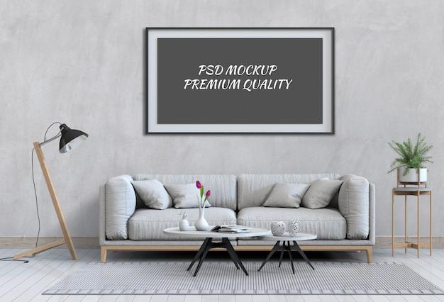 Maquette De Poster Dans Le Salon Intérieur Et Le Canapé PSD Premium