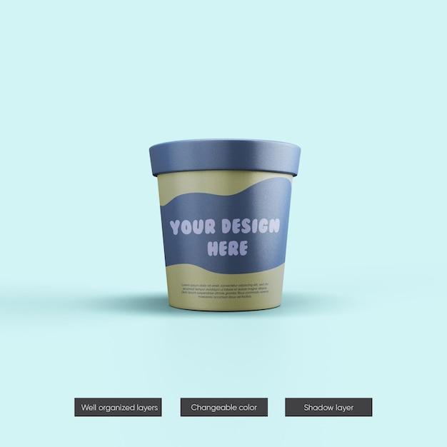 Maquette De Pot De Crème Glacée En Rendu 3d PSD Premium