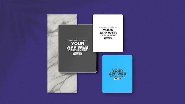 Maquette De Présentation De L'interface Utilisateur De L'application De Téléphone Tablette Pliable PSD Premium