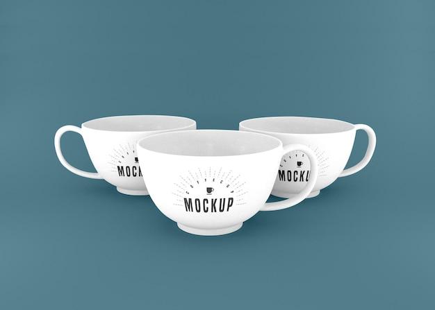 Maquette Psd De Trois Tasses à Café Blanches Psd gratuit
