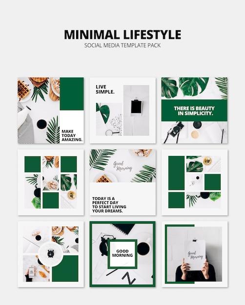 Maquette de publication de médias sociaux avec le concept de style de vie Psd gratuit