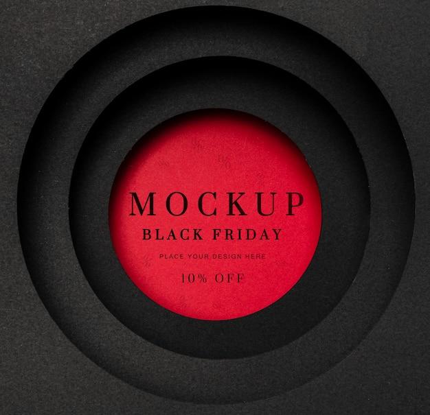 Maquette Rouge Circulaire Du Vendredi Noir Psd gratuit