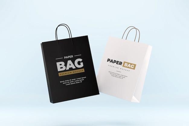 Maquette De Sac En Papier Flottant Shopping Réaliste Noir Et Blanc PSD Premium