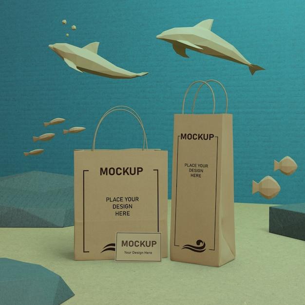 Maquette De Sacs En Papier Ocean Day Psd gratuit