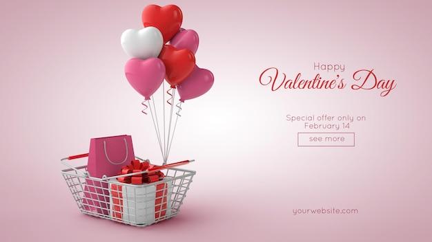 Maquette De Shopping Et De Vente De La Saint-valentin En Illustration 3d PSD Premium