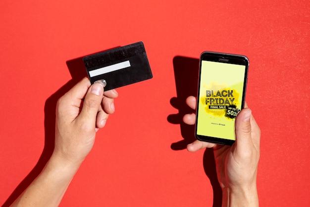 Maquette de smartphone black friday concept Psd gratuit