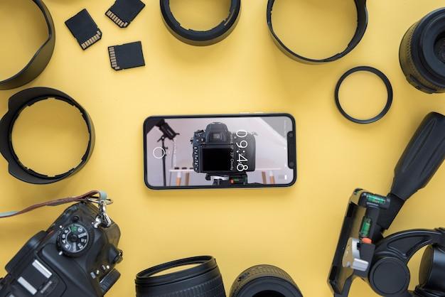 Maquette de smartphone avec concept de photographie Psd gratuit