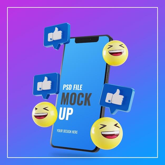 Maquette De Smartphone Avec Des Goûts Facebook Et Des Emoji 3d PSD Premium