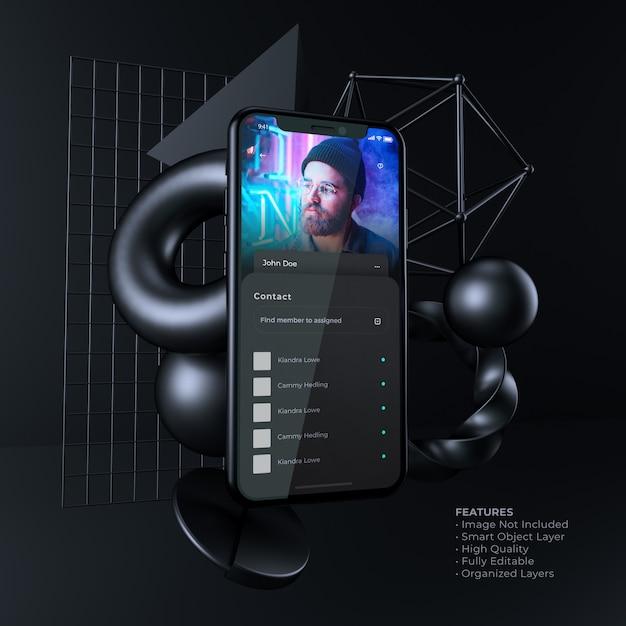 Maquette De Smartphone D'interface Utilisateur Sombre PSD Premium