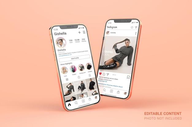 Maquette De Smartphone En Or Rose Avec Publication Instagram Modifiable Sur Les Médias Sociaux PSD Premium