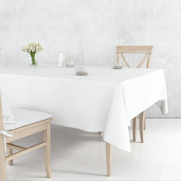 Maquette De Table à Manger Avec Un Tissu Blanc Et Des Chaises En Bois Psd gratuit
