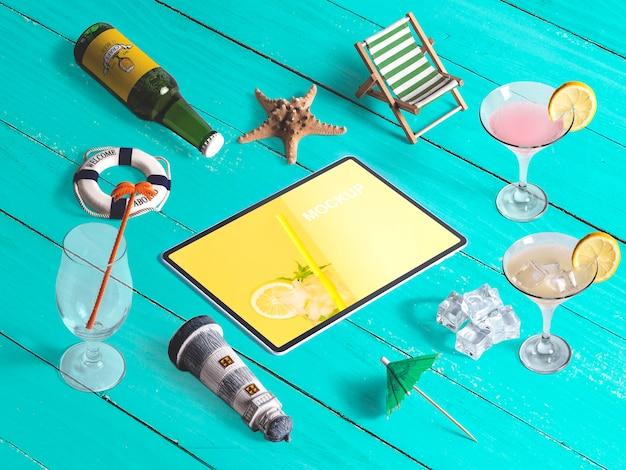 Maquette De Tablette Isométrique Modifiable Avec Des éléments De L'été Psd gratuit