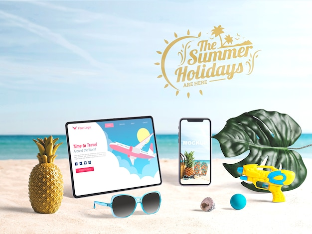 Maquette tablette et smartphone modifiable avec des éléments de l'été Psd gratuit