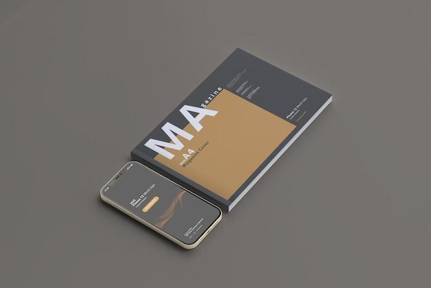 Maquette De Téléphone Intelligent Avec Magazine Horizontal PSD Premium