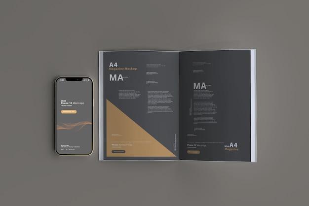 Maquette De Téléphone Intelligent Avec Magazine PSD Premium