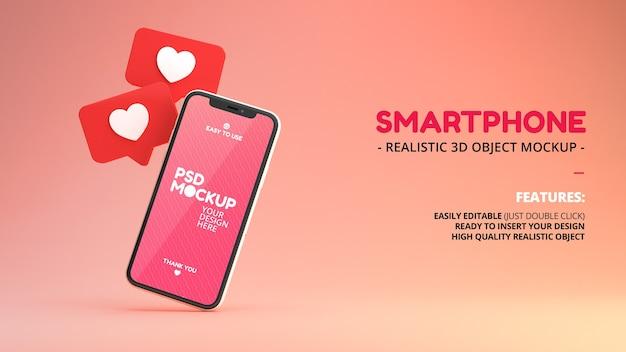 Maquette De Téléphone Avec Des Notifications Similaires Dans Un Rendu 3d Réaliste PSD Premium