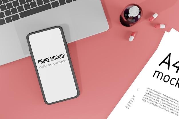 Maquette De Téléphone Portable Illustration De Rendu 3d PSD Premium