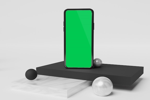 Maquette De Téléphone Portable Rendu 3d Pour La Publicité De Créateur De Scène PSD Premium