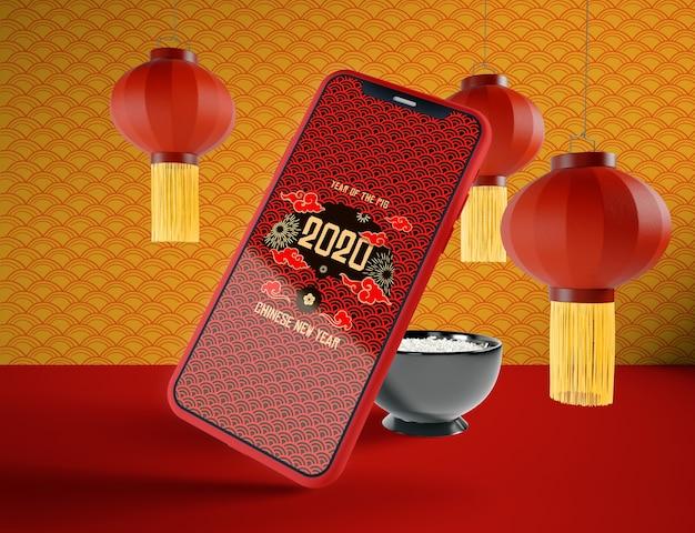 Maquette De Téléphone Pour Le Nouvel An Chinois Psd gratuit