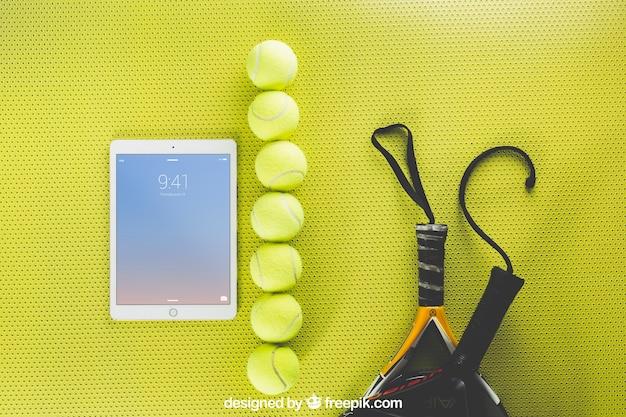 Maquette De Tennis Avec Tablette Psd gratuit