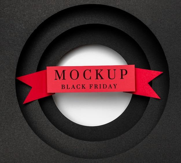 Maquette De Vendredi Noir Avec Ruban Rouge Psd gratuit