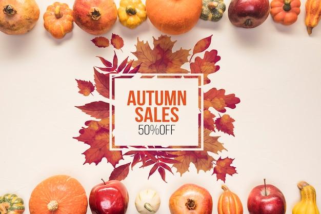 Maquette de vente d'automne avec des légumes secs Psd gratuit