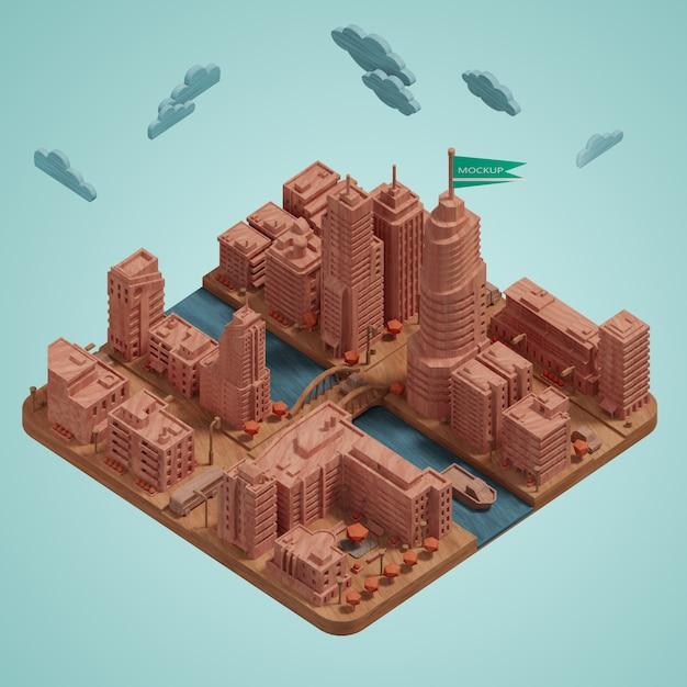 Maquette De Ville Miniature De Bâtiment 3d Psd gratuit