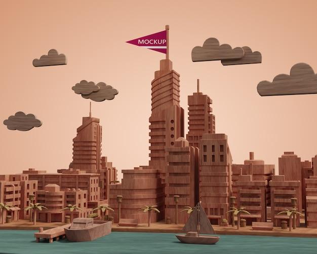 Maquette De Ville Modèle Miniature De Bâtiment 3d Psd gratuit