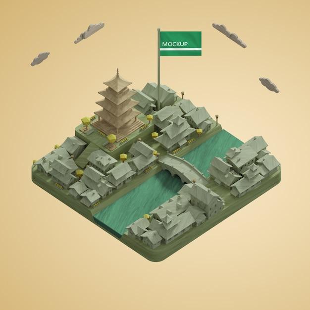 Maquette Des Villes 3d Modèle De Bâtiments De La Journée Mondiale Psd gratuit