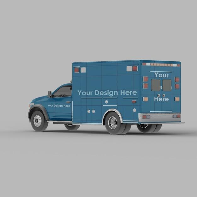 Maquette De Vue Demi-côté Arrière Ambulance Isolée PSD Premium