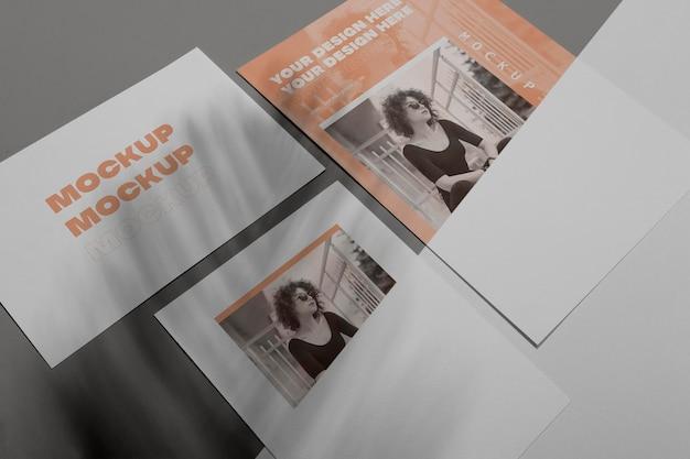 Maquette Vue De Dessus De Superposition D'ombre De Brochure PSD Premium