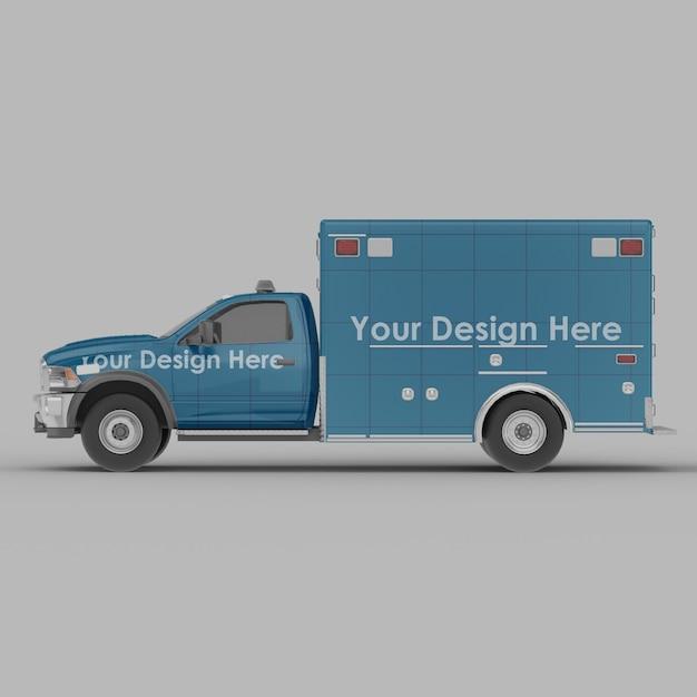 Maquette De Vue Latérale D'ambulance Isolée PSD Premium