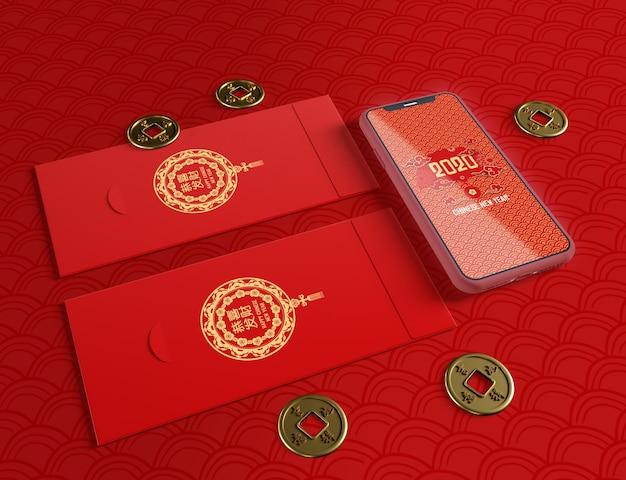 Maquettes De Téléphone Et Cartes De Vœux Pour Le Nouvel An Chinois Psd gratuit