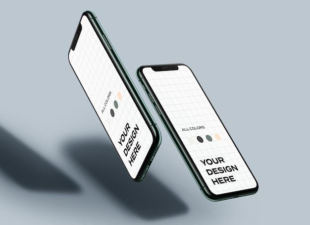 Maquettes De Téléphone Mobile Flottantes PSD Premium
