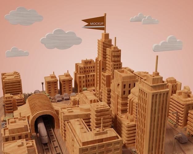 Maquettes De Villes 3d Bâtiments Miniature Psd gratuit
