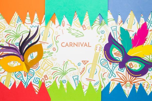 Masques Colorés Pour Le Carnaval Avec Des Découpes En Papier Psd gratuit