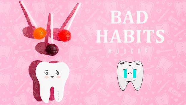 Mauvaises Habitudes Maux De Dents Avec Maquette Psd gratuit