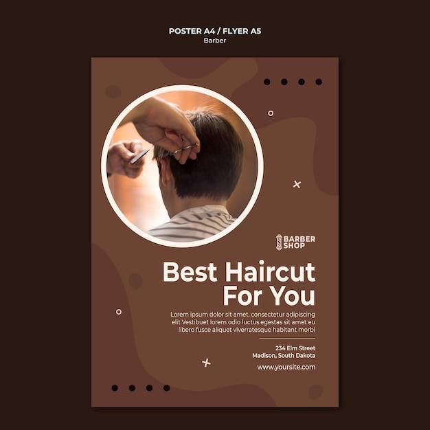 Meilleure Coupe De Cheveux Pour Vous Homme Au Modèle D'affiche De Salon De Coiffure Psd gratuit
