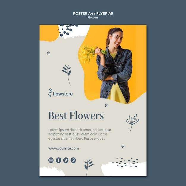Meilleures Fleurs Et Modèle D'affiche Mignon Femme D'affaires Psd gratuit