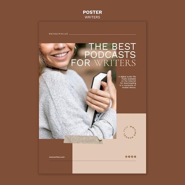 Les Meilleurs Podcasts Pour Le Modèle D'affiche Des écrivains Psd gratuit