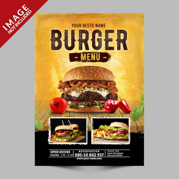 Menu burger promotion PSD Premium