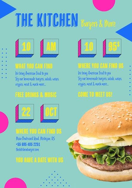 Menu de cuisine américaine avec hamburger Psd gratuit