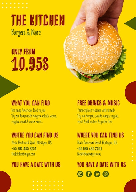 Menu de cuisine avec burger américain Psd gratuit