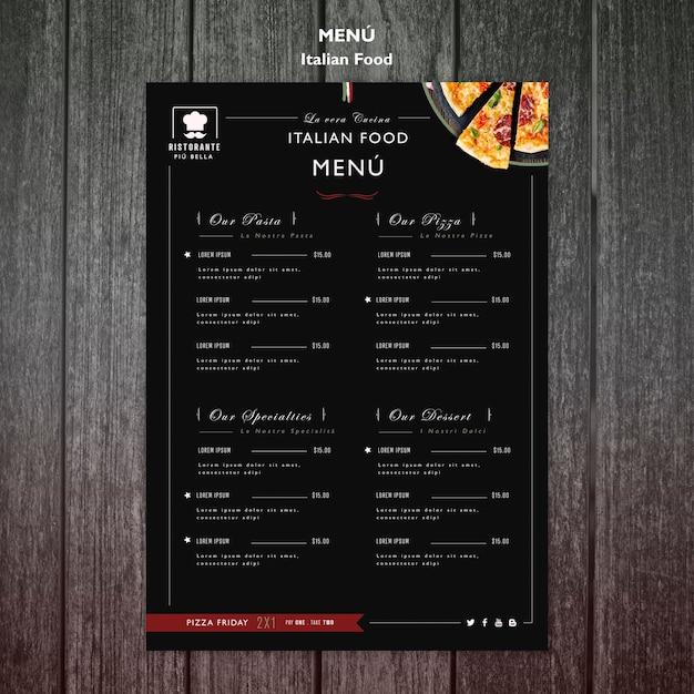 Menu De La Cuisine Italienne Psd gratuit