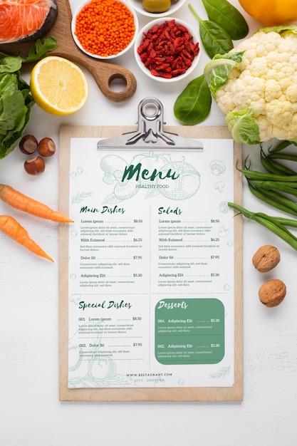 Menu Diététique Santé Entouré De Légumes Psd gratuit