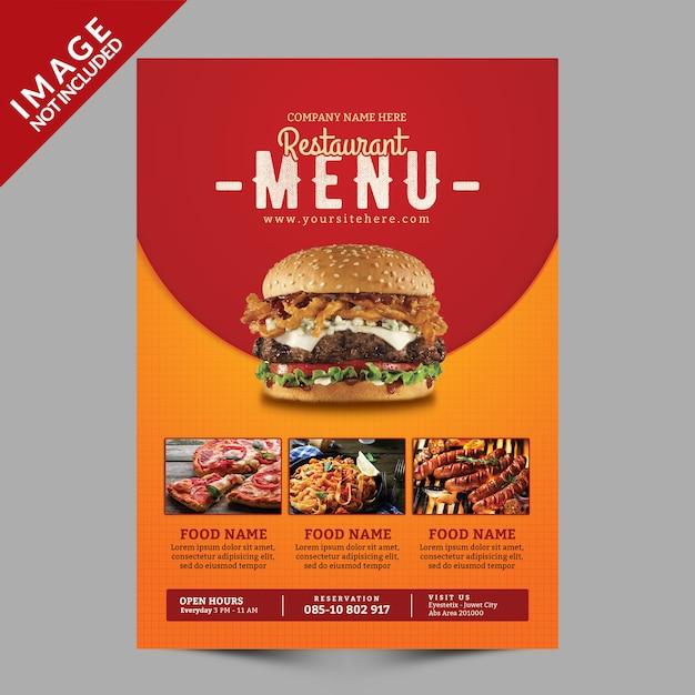 Le menu du restaurant PSD Premium