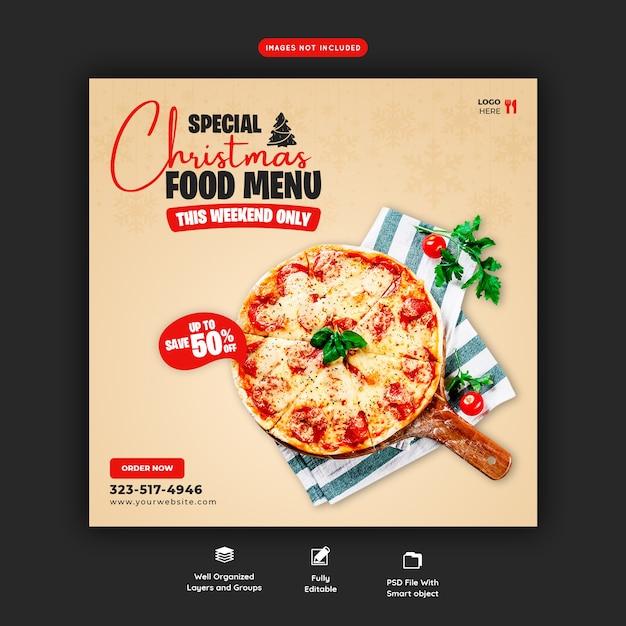 Menu De Nourriture Joyeux Noël Et Modèle De Bannière De Médias Sociaux Délicieux Pizza Psd gratuit