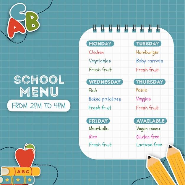 Menu scolaire fait pour les enfants Psd gratuit