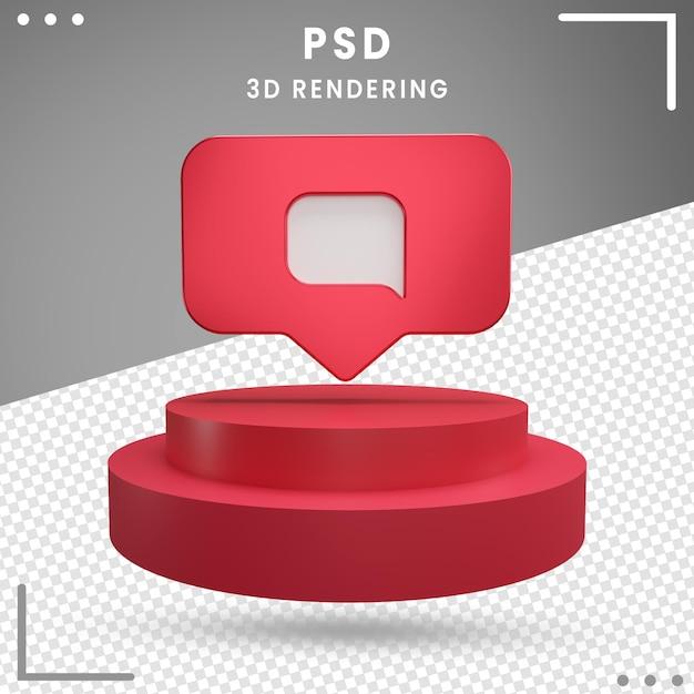 Message De Logo De Rotation 3d Rouge Instagram PSD Premium